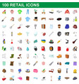 100 retail icons set cartoon style vector image
