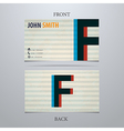 Business card template letter F vector image
