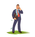 businessman talking phone vector image