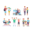 Geriatric care pensioners retirees and happy vector image