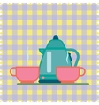 Teapot and Cup on a napkin vector image