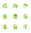 Natural environment icons set cartoon style vector image