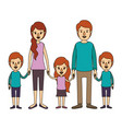color image caricature family with young parents vector image