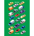 isometric city transport collection vector image