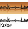 Krakow skyline in orange vector image