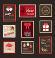 Set of Christmas And New Year Postage Stamps vector image