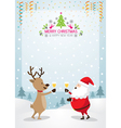 Santa Claus and Reindeer Drinking Champagne Frame vector image vector image