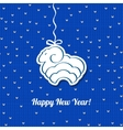 Christmas blue card with sheep background vector image