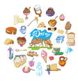 colorful drawing farm elements round concept vector image