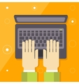 Hand on laptop keyboard with blank screen monitor vector image
