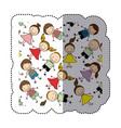 sticker colorful pattern children decorative vector image