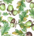 Watercolor Seamless pattern with acorns vector image
