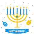 Hanukkah card with menorah and dreidel vector image