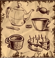 Tea and coffee icons set on vintage background vector image vector image