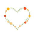 Yellow and Orange Cosmos Flowers in Heart Shape vector image