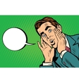 Surprised emotional pop art retro business man vector image