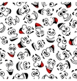 Cartoon laughing faces seamless pattern background vector image