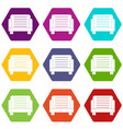 armchair icon set color hexahedron vector image