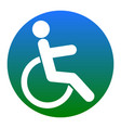 Disabled sign white icon in vector image