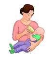 mother and child the milk in the bottle vector image