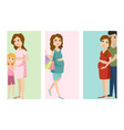 pregnancy motherhood people expectation cards vector image
