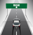 Sport car is braking when see the risk signs vector image