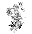 Vintage elegant flowers Black and white vector image