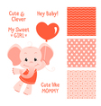 Baby elephant design with seamless patterns set vector image