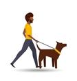 man walking a brown dog vector image