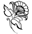 beautiful black and white flowerretro style vector image vector image