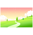 Curved path green landscape vector image vector image