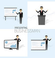 businessman in formal suit is giving a vector image
