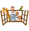 Animals and window vector image vector image