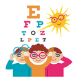 Children at the eye doctor vector image