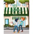 Men fighting on the street vector image