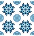 Blue ukrainian painting style Petrikovka seamless vector image