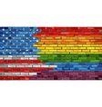 Brick Wall USA and Gay flags vector image