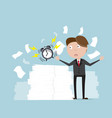 businessman with alarm clock and a lot of document vector image
