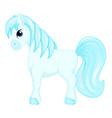 cute cartoon little blue horse blue hair decorate vector image
