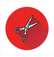 scissors icon on circle background vector image