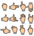 Hand Signs Pixel Pictograms vector image