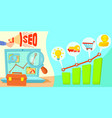 seo horizontal banner concept cartoon style vector image