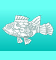 steampunk style fish color background vector image