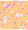 Seamless pattern with cute newborn girls vector image vector image