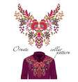 embroidery ethnic flowers neck pattern vector image