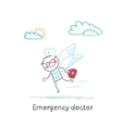Emergency doctor is flying with wings vector image vector image