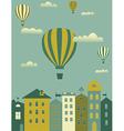 Hot air balloon over the town vector image