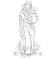 virgin mary holding baby jesus outlined vector image vector image