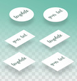 Isometric flat and realistic card template for vector image