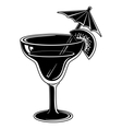 Glass with drink black pictogram vector image